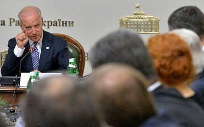 US Vice President Joe Biden addresses to members of the Ukrainian parliament during a meeting on April 22, 21014 in Kiev. (photo credit: AFP PHOTO/POOL/Sergei Supinsky)