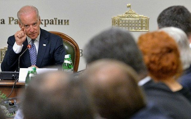 US Vice President Joe Biden addresses to members of the Ukrainian parliament during a meeting on April 22, 21014 in Kiev. (photo credit: AFP PHOTO/POOL/Sergei Supinsky)