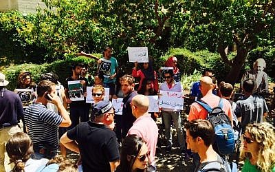 Students protest draft for Christian Arabs at the Hebrew University of Jerusalem (photo credit: Hala Marsood)