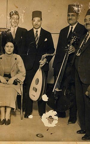 Souad Zaki with musicians in Egypt. (Courtesy of Moshe Zaki)