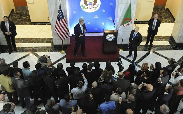 John Kerry speaking to US Embassy staff in Algiers, Thursday. (photo credit: US State Department)