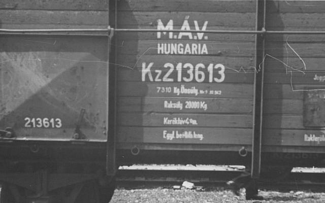 Writing on side of car of the Hungarian Gold Train. (Courtesy National Archives, photo no. 239-PA-1-1-10)