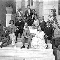 The Vesters and the Whiting families with Jacob Spafford on stairs of the Palm House, 1924 (photo credit: American Colony Photo Department photographers from American Colony Members, Activities and Aid Projects, 1890-1930, negative collection) ​ ​ ​The American Colony Archive Collections