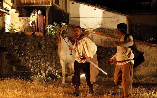 Actors portraying converted Jews at a Jewish culture festival in Hervas, Spain, in 2011. (LOS CONVERSOS La Estrella de Hervás via JTA)
