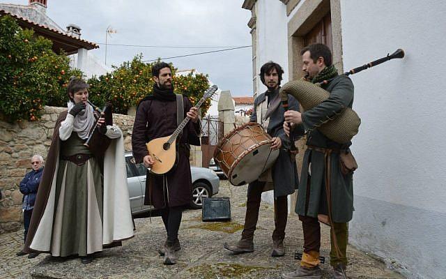 Actors entertaining visitors to the Jewish Christian Passover Celebration last month at Medelim, Portugal. (Beira Baixa TV via JTA)