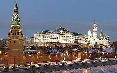A view of the Kremlin from the Moscow River, in Moscow, Russia (photo credit: Pavel Kazachkov/Wikimedia Commons/File)