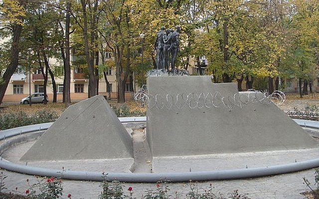 Monument to victims of the Holocaust in Odessa, Ukraine (photo credit: HOBOPOCC/Wikimedia Commons/File)
