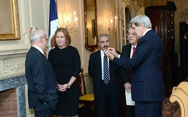 John Kerry (right), with the Israeli and Palestinian negotiating teams at the start of talks in Washington in July 2013 (photo credit: US State Department)