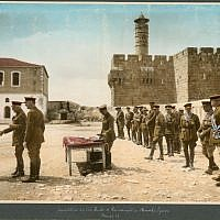 Investiture by the Duke of Connaught, in Barracks Square. March 19th, 1918 (​​photo credit: American Colony Photo Department photographers From, World War I and the British Mandate, 1918-1925, Photograph Album/Reproduction from hand coloured photographic print/American Colony Archive Collection)