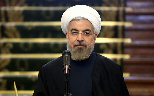 Iranian President Hassan Rouhani at a press conference in Tehran, Iran, on April 9, 2014. (photo credit: AP/Ebrahim Noroozi)