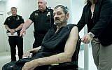 Overland Park JCC shooter Frazier Glenn Cross Jr., also known as Frazier Glenn Miller Jr., appears at his arraignment in New Century, Kansas, April 15, 2014. (photo credit: AP/David Eulitt)