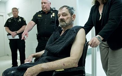 Overland Park JCC shooter Frazier Glenn Cross Jr., also known as Frazier Glenn Miller Jr., appears at his arraignment in New Century, Kansas, April 15, 2014. (photo credit: AP/David Eulitt)