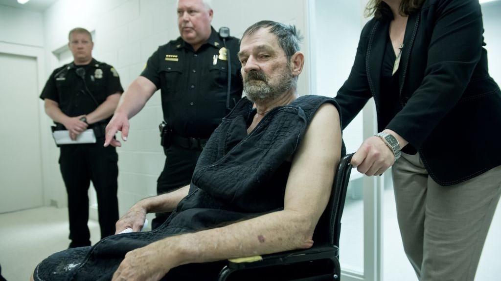 Frazier Glenn Cross Jr., also known as Frazier Glenn Miller Jr., appears at his arraignment in New Century, Kansas, April 15, 2014. (photo credit: AP/David Eulitt)