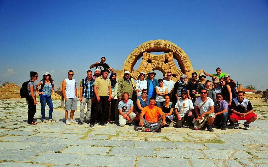 A group photo at Hisham's Palace, an eighth century Islamic archaeological site in Jericho (photo credit: copyright/Bruce Shaffer)