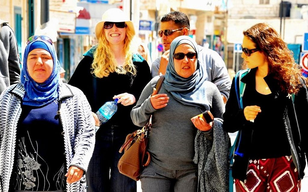 Participants of Tiyul-Rihla walk through the streets of Bethlehem, April 4, 2014 (photo credit: copyright/Bruce Shaffer)