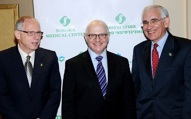 During a briefing in Jerusalem Tuesday, Ehud Davidson, left, Larry Norton, center, and David Geffen discussed cancer research being conducted at the Soroka Medical Center in Beersheba and the Memorial Sloan Kettering Cancer in New York City. (Photo courtesy of Soroka Medical Center)