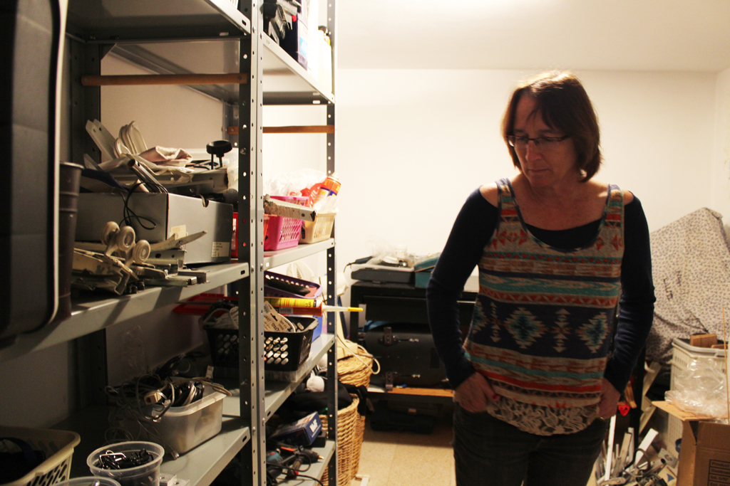 Debby Elnatan has a basement workroom in her Jerusalem home where she works on products like the Upsee to help her son, Rotem. (The Times of Israel/Rebecca McKinsey)