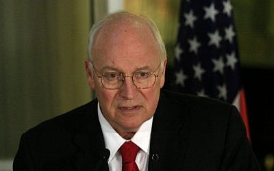 Former US vice president Dick Cheney during a visit to Israel in 2008. (file photo credit: Olivier Fitoussi/Flash90)