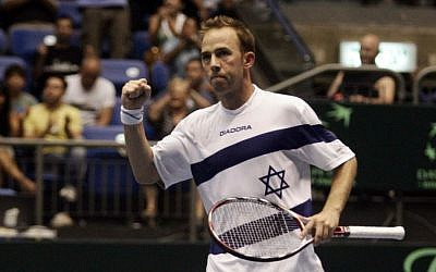 File: Israel's Dudi Sela during a Davis Cup match. (Uri Lenz/Flash90)