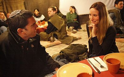 Young religious Jewish singles on a date (Photo credit: Miriam Alster/FLASH90)