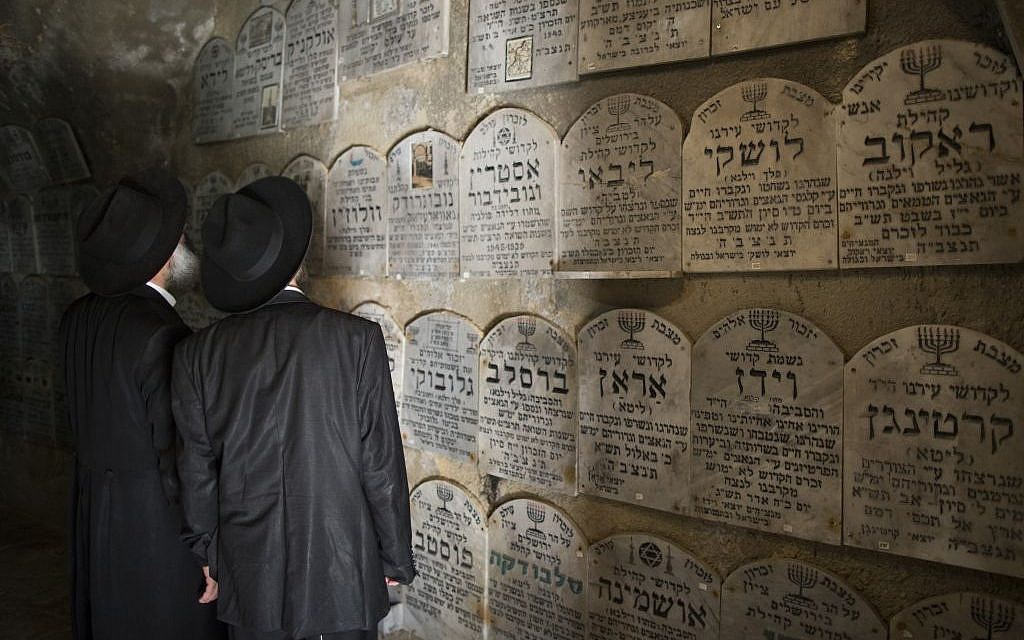 Reading the wall of tombstones at the Chamber of the Holocaust (photo credit: Yonatan Sindel/Flash 90)