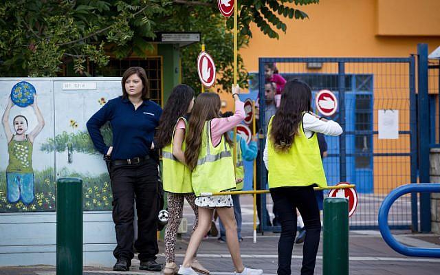 Girls outside a school. (illustrative photo: Moshe Shai/Flash90)