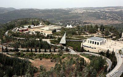 A bird's eye view of Yad Vashem and Mount Herzl in Jerusalem. (Yossi Zamir/Flash90)
