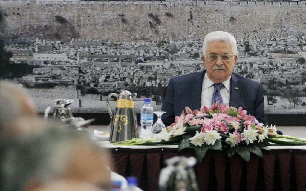 Palestinian Authority President Mahmoud Abbas attends a meeting of the Palestinian leadership in the West Bank city of Ramallah March 31, 2014. (photo credit: Issam Rimawi/Flash90)