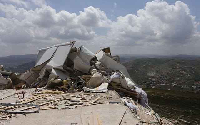 View of illegal structures demolished by security forces last month in the settlement of Yitzhar, in the West Bank. (photo credit: Flash90)