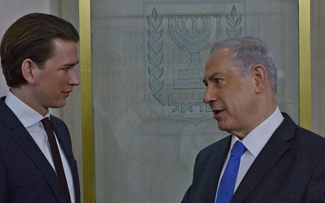 Prime Minister Benjamin Netanyahu meets with Austrian Foreign Minister Sebastian Kurz in Jerusalem on April 23, 2014. (photo credit: Kobi Gideon/GPO/Flash 90)