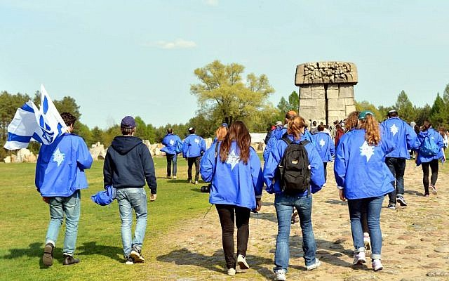 The Israeli delegation seen during a visit to the Treblinka extermination camp in Poland, as they take part in the 'March of the Living' on Friday, April 25, 2014 (photo credit: Yossi Zeliger/Flash90)