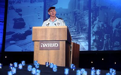 DF Chief of Staff Benny Gantz speaks during a ceremony at Kibbutz Tel Yitzhak, marking Israel's Holocaust Remembrance Day (photo credit: Gideon Markowicz/Flash90)