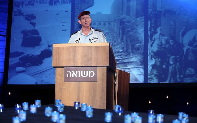 DF Chief of Staff Benny Gantz speaks during a ceremony at Kibbutz Tel Yitzhak, marking Israel's Holocaust Remembrance Day (photo credit: Gideon Markowicz/Flash90)