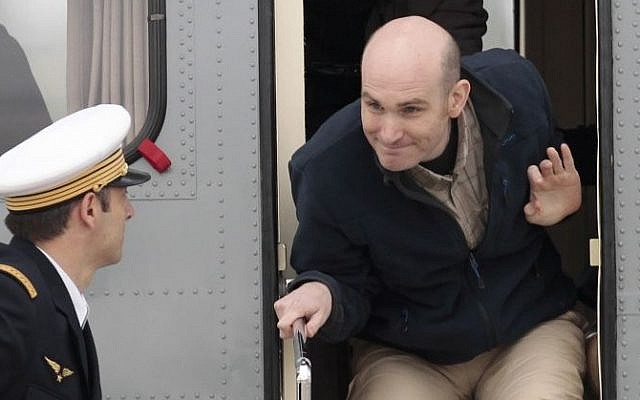 Released French hostage Nicolas Henin arrives at the Villacoublay military airbase, outside Paris, on Sunday April 20, 2014. (photo credit: AP Photo/Jacques Brinon)