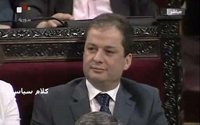 Syrian presidential candidate Maher Abdul-Hafiz Hajjar, 2014. (screen capture: YouTube/KalamSeyasi)