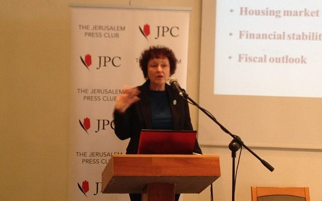 Bank of Israel chairperson Karnit Flug speaking at a press conference (Photo credit: Courtesy)