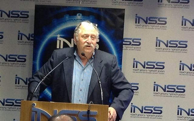 Yossi Vardi speaking at the INSS Conference (Photo credit: Courtesy)