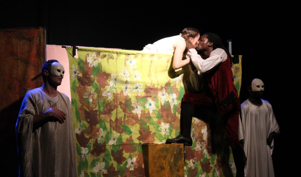 Romeo (played by Natey Jones) and Juliet (played by Georgie Ashworth) kiss during the balcony scene — one of Jones' favorite scenes — in a production of Romeo and Juliet in Tel Aviv. Keeping the young, religious audience in mind, organizers proposed the actors keep the kissing light. (Rebecca McKinsey/Times of Israel)