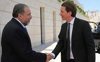 Avigdor Liberman, left, meeting with Austrian Foreign Minister Sebastian Kurz in Jerusalem Tuesday. (photo credit: Yossi Zamir)