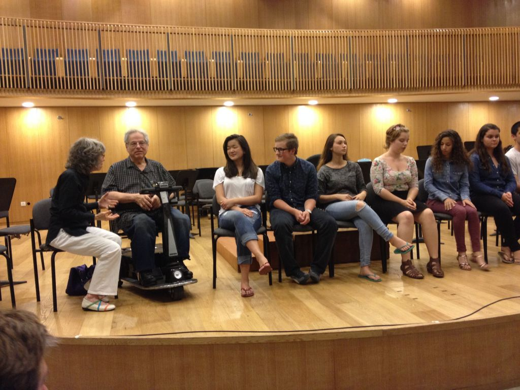 The Perlmans and some of their Perlman Music Program students, who have ventured from Norway, the US, Vancouver and Australia, to spend time with the violinist (photo credit: Jessica Steinberg/Times of Israel)