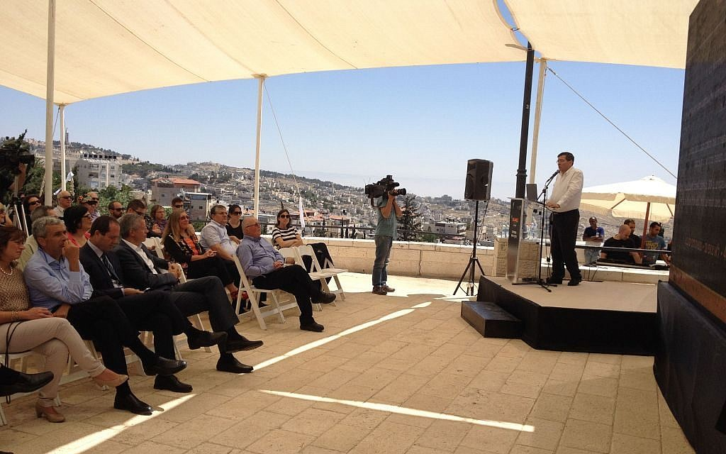 YES Planet CEO Mooky Greidinger speaking at the official announcement of the Sherover Cultural Center in Abu Tor (photo credit: Jessica Steinberg/Times of Israel)
