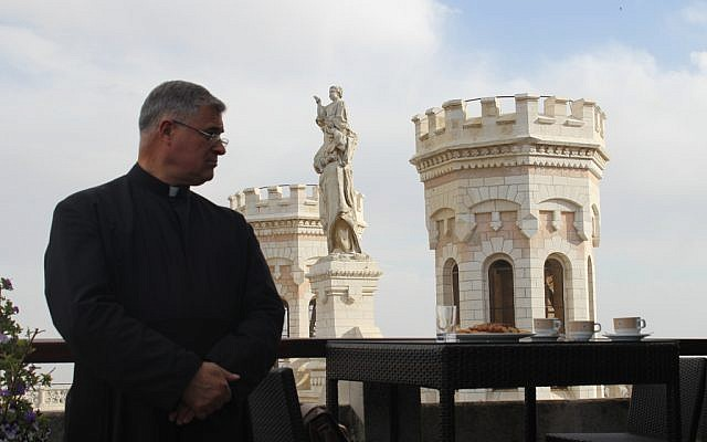 Father Juan María Solana, L.C., is helping to organize Pope Francis' first visit to Jerusalem, which will take place in May. (photo credit: Rebecca McKinsey/Times of Israel)