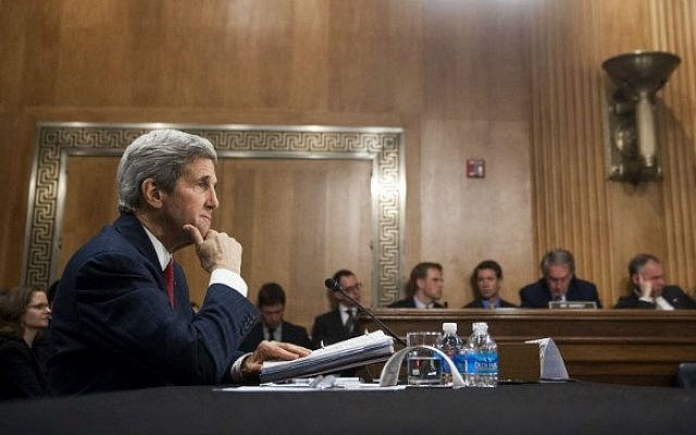 US Secretary of State John Kerry testifies before the Senate Foreign Relations Committee on Capitol Hill in Washington, DC, April 8, 2014.  (AFP/Saul LOEB)