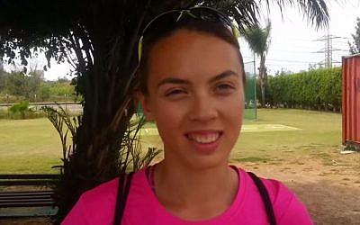 Israeli sprinter Olga Lensky after breaking the Israeli 100m women's record, April 19, 2014. (screen capture: YouTube: orenbukstein)