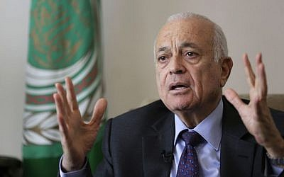 Arab League Secretary General Nabil Elaraby during an interview with the Associated Press, in Cairo, Egypt, Thursday, April 10, 2014 (photo credit: AP/Hassan Ammar)