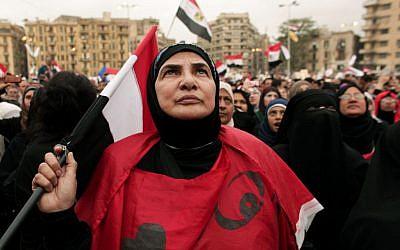Women in Tahrir Square in 2012. (photo credit: AP Photo/Maya Alleruzzo)