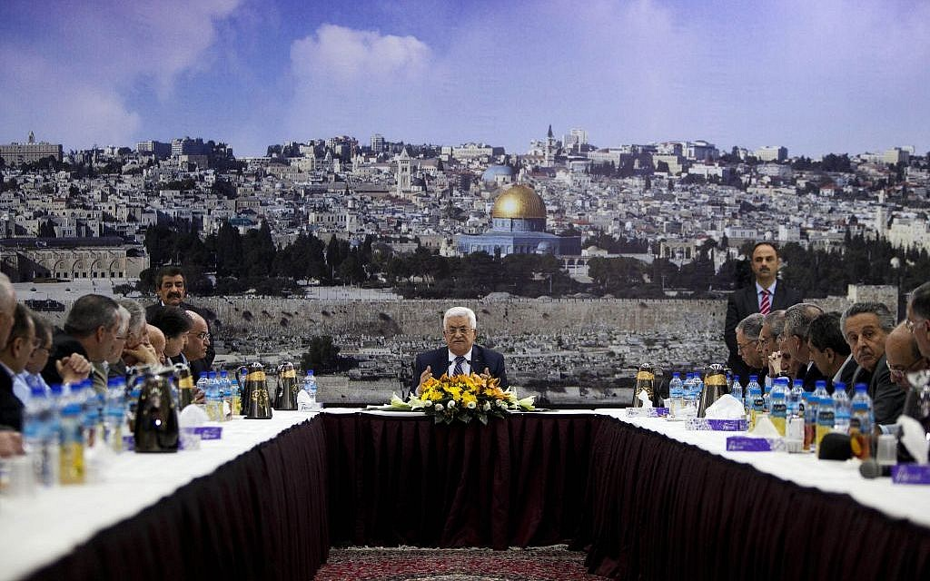 Palestinian Authority President Mahmoud Abbas talks during a leadership meeting in Ramallah, April 1, 2014. (AP/Majdi Mohammed)