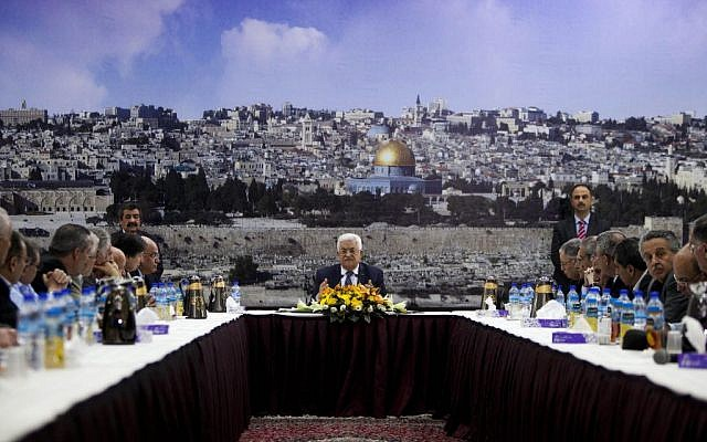 Palestinian Authority President Mahmoud Abbas talks during a leadership meeting in Ramallah, April 1, 2014. (AP/Majdi Mohammed)