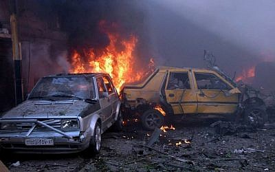 Illustrative photo of a car bombing in Homs province, central Syria (photo credit: AP/SANA)