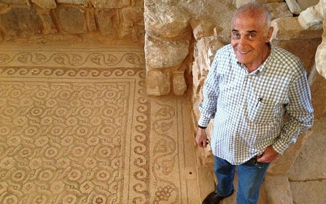 Munib Al-Masri stands at the basement level of his home, where a Byzantine temple was found during construction (photo credit: Elhanan Miller/Times of Israel)